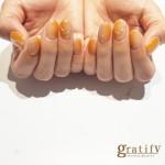 (梅田)オレンジカラーネイル